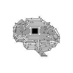 Artificial Intelligent Processor Brain Circuit Board Illustration