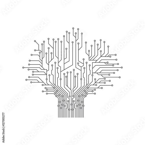 u0026quot abstract tree electronic printed circuit board vector