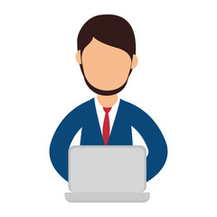 businessman character with laptop vector illustration design
