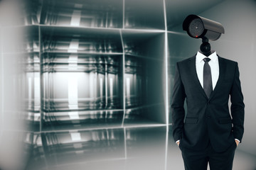 Businessman with CCTV camera head