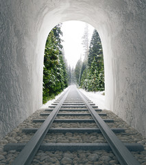 Poster Tunnel Railway tunnel with landscape view