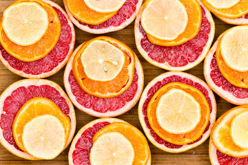 Stacked Red Grapefruit, Orange and Lemon Slices