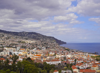 Portugal, Madeira, Elevated view of Funchal..