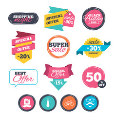 Sale stickers, online shopping. Hipster photo camera. Mustache with beard icon. Glasses and tie symbols. Bicycle family vehicle sign. Website badges. Black friday. Vector