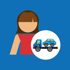 towing truck girl design graphic vector illustration eps 10