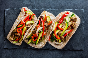 Mexican pork tacos with vegetables. Top view
