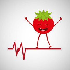 character tomato healthy, heartrate icon background vector illustration eps 10