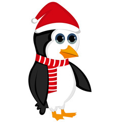 Cute penguin character, Merry Christmas, hat and scarf.