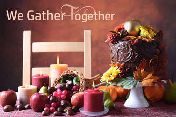 Thanksgiving Autumn Fall Theme Chocolate Cake
