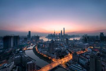 Sunrise panorama of Shanghai