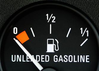 Gas gauge showing empty