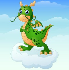 Cute cartoon green dragon posing on the cloud