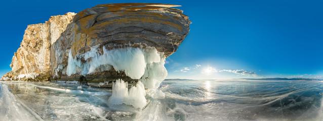 Cylindrical panorama 360 Rock on Olkhon Island on Lake Baikal ic
