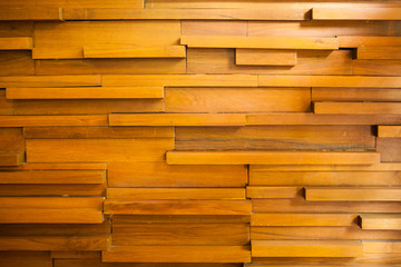 Random pattern and size of wood wall with beautiful light.