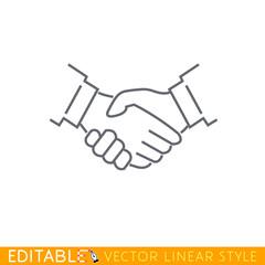 Handshake. Editable outline sketch icon.