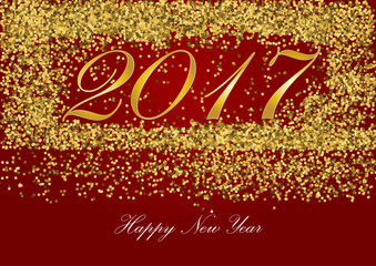 Happy new year 2017 Golden letter with Gold glitter texture