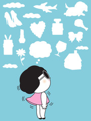 A Girl And Imagine Shape Clouds Character illustration