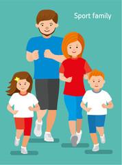 Happy sports family. Flat illustration.