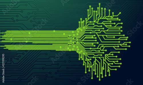 "Tree Design On Circuit Board Wallpaper Vector Image: ""Electronic Green Nerve Neuron Tree Circuit Board Vector"