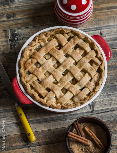 Quot rustic apple pie on wooden table top view stock photo