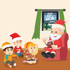 santa telling christmas story for kids
