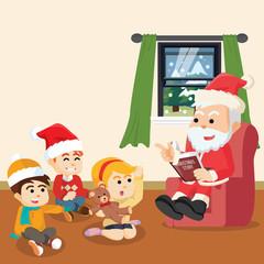 santa telling christmas story for kids