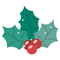 Berry and leaves icon. Christmas season decoration and celebration theme. Isolated design. Vector illustration