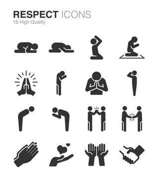 Respect, reverence and veneration icons