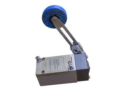 arm type metal limit switch isolated, white background of limit