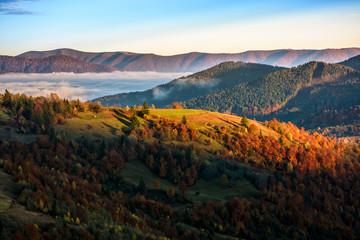 foggy and hot sunrise in Carpathian mountains