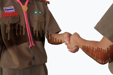 Left handshake by scouts.