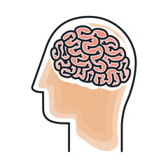 Brain and head draw icon. Big idea creativity imagination and inspiration theme. Isolated design. Vector illustration