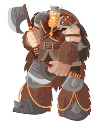powerful giant viking barbarian warrior with two axes
