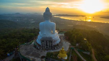 sunrise in Andaman sea in front of Phuket's big Buddha