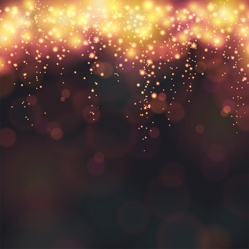 New Year dark abstract vector background with fireworks and bokeh on a black background
