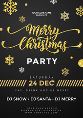 Merry Christmas Party placard, flyer template