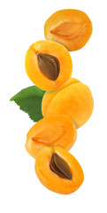 hanging, falling, hovering and flying whole and sliced apricot isolated on white background with clipping path