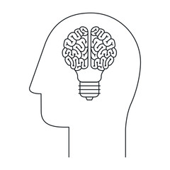 Brain and bulb draw icon. Big idea creativity imagination and inspiration theme. Isolated design. Vector illustration