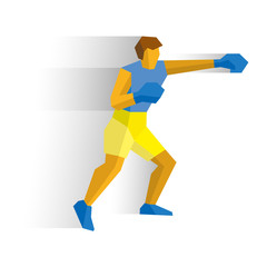 Boxer isolated on white background with shadows. International Sport Games Infographic. Boxing fighter - flat style vector clip art.