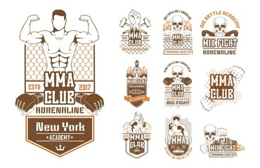 Set for MMA. Silhouette, logo, emblem, label, symbol, element, the icon for the mix of martial arts. Battle, show, tournament, performance, training center, the boxing club to train fighter.