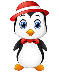 Christmas penguin  in a cap and a bow tie