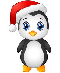 Christmas penguin with Santa hat