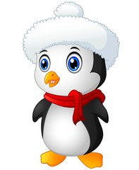 Christmas penguin with santa hat  and scarf