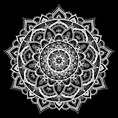 Mandala, highly detailed zentangle inspired illustration, ethnic tribal tattoo motive, white ink on black isolated background. Anti-stress illustration.