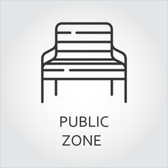 Simple black icon of bench. Public zone symbol