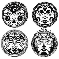 Set of polynesian tattoo styled masks