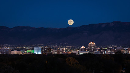 Supermoon Rising Over Albuquerque