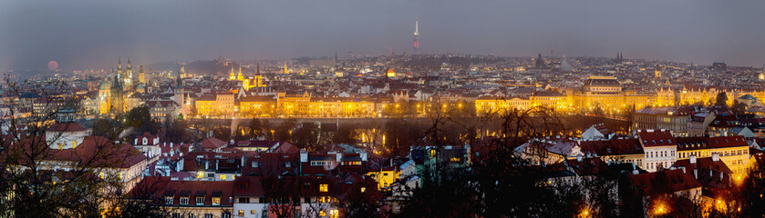 Prague evening panorama with full moon