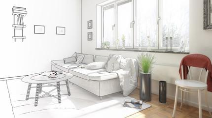 Inside my flat (drawing)