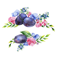 Colorful floral collection with multicolored flowers,leaves,plums,branches,berries. 2 beautiful bouquet for your own design.Lovely Bouquet collection.Perfect for wedding,thanksgiving invitations